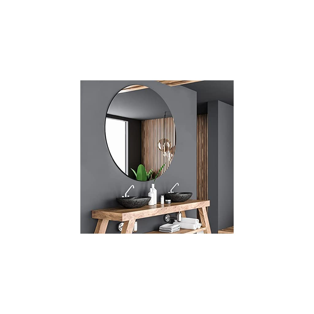 Alasta Miroir de Salle de Bain Rond élégant, Miroir Mural, Miroir Suspendu – Taille 70cm