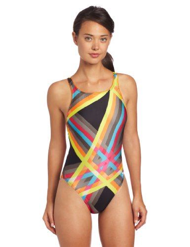 Speedo Women's Laser Stripe Recordbreaker, Orange, 32