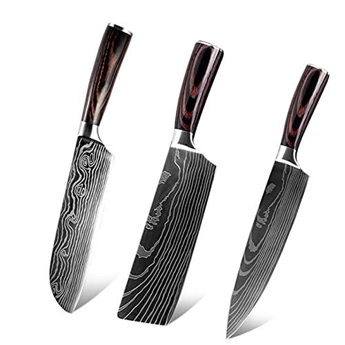 3 unids 440c Cuchillo de acero inoxidable Cuchillo de cocina Damasco patrón chef Santoku Nakiri Cleaver Cuchillos (Color : 3PCs Per Set)