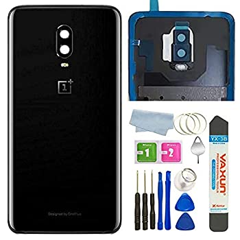 BSDTECH Battery Back Cover Rear Panel Glass with Camera Glass Lens/Flash Replacement for OnePlus 6T A6010 A6013 LTE 6.41  Mirror Black