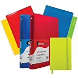 JAM PAPER Back to School Assortments - Green - Glossy Folders (4), 0.75 inch Binders (2) & a Green Journal (1) - 7 Items Total/Set