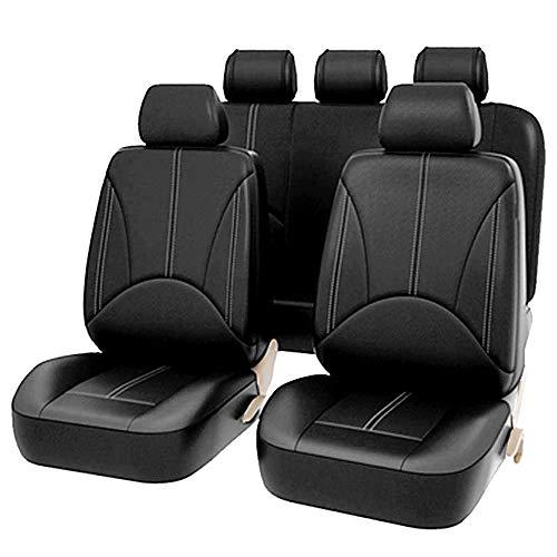 9 fundas de asiento de coche delanteras y traseras de piel sintética universal para coche, cojín de asiento de coche, cubierta para asiento de coche para conductor y pasajero