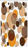 ABAKUHAUS Tonos terrestres Cortina para baño, Anillos Spots caóticas, Tela con Estampa Digital Apta Lavadora Incluye Ganchos, 120 x 180 cm, Naranja Marrón Bronceado