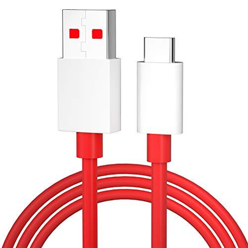 DUX DUCIS Câble pour OnePlus Nord / Nord N100 / 8T / 8 / 8 Pro / 7T / 7T Pro / 7 / 7 Pro / 6 / 6T / 5T / 5 / 3T / 3, Câble de données à charge rapide USB Type C - Rouge