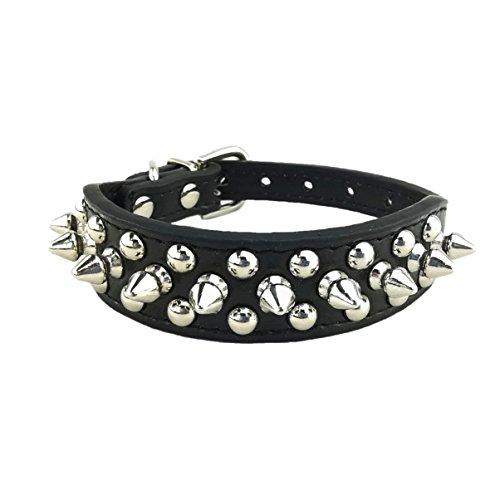 Newtensina Stilvoll Hundehalsband Punk Hundehalsband Nieten Hundehalsband für Hunde - Black - L