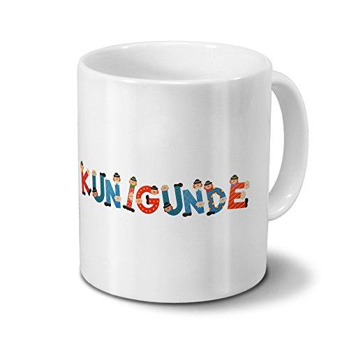 printplanet Tasse mit Namen Kunigunde - Motiv Holzbuchstaben - Namenstasse, Kaffeebecher, Mug, Becher, Kaffeetasse - Farbe Weiß