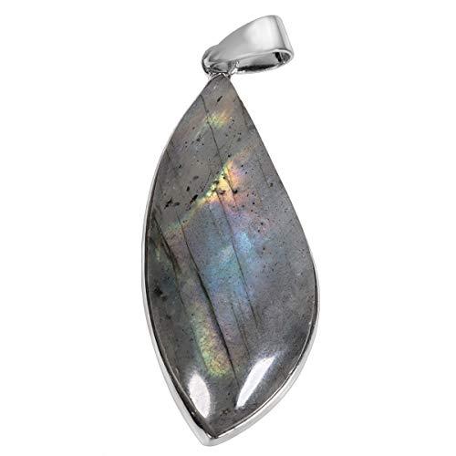 Mookaitedecor - Collar con colgante de piedra natural y litoterapia, colgante de gota irregular con cadena