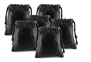 Pack of 6 Chalk Factory Lambskin Leather Drawstrings Pouch  Black 7cm X 9cm
