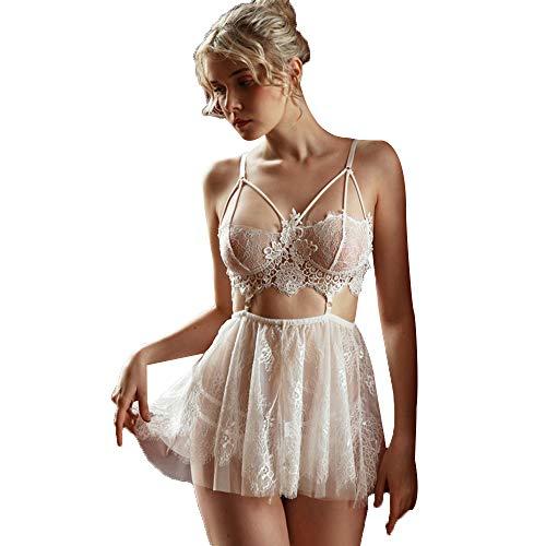 Kadila Sexy Spitze Dessous für Frauen Strappy Chemise Hochzeit Babydoll Nachtwäsche (Weiß, XL)