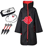 Unisex Anime Cloak Robe Itachi Cosplay Halloween Cosplay Costume Uniform Long Capes(Accessories Ring Headhand)