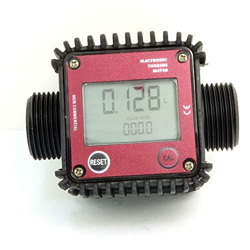 Nuzamas Digitaler Durchflussmesser für Gas-, Öl-, Kraftstoff-, Chemikalien- und Wasserschlauch, 2,5 cm, maximal 120 l/m