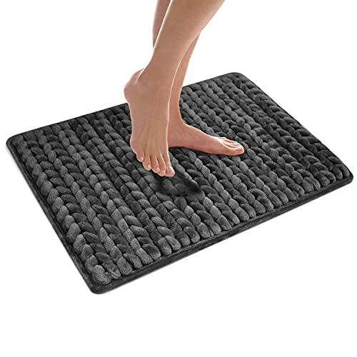 MICRODRY Extra Thick SoftLux Braided Charcoal Infused Memory Foam Bath...