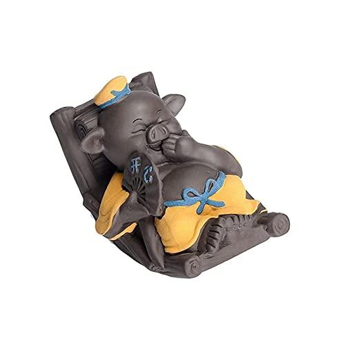MISS KANG Sculptures Céramique Thé Pet Rocking Cochon de Bureau Décoration Décoration de Voiture Joyeux Rire Chaise à Bascule Qingchunw