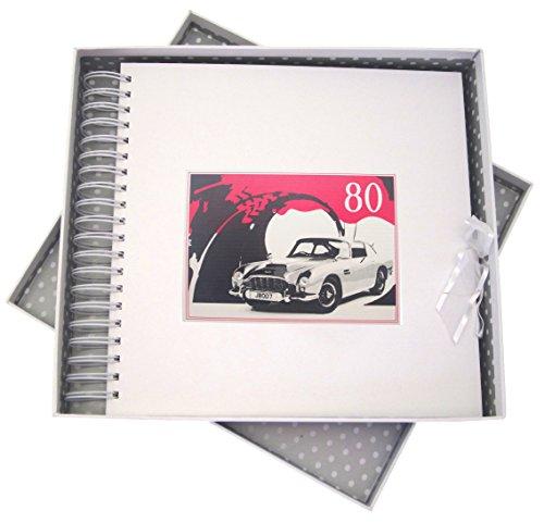 White Cotton Cards Carte Anniversaire 80 Ans, & mémoire Livre, Voiture Classique, Blanc