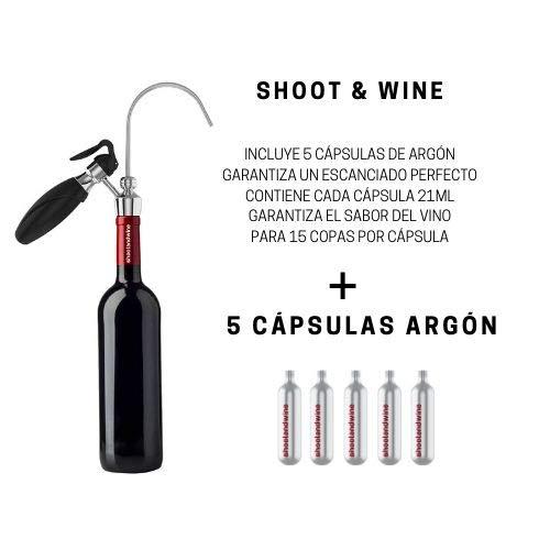 Shoot&Wine Dispensador de Vino para Copas - Cavanova - 5 Cápsulas de Argón