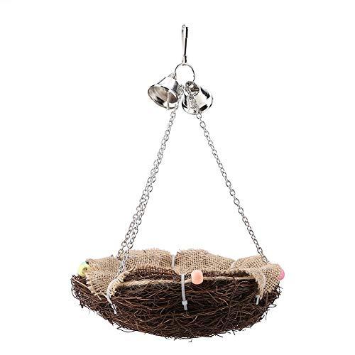 HEEPDD Rattan Birds Nest Toys, Parrot Colgante Nido de Columpio con Campanas Accesorios para Jaula de pájaros para cacatúa Macaw Amazon Gris Periquito Perico Cockatiel Lovebird Finch
