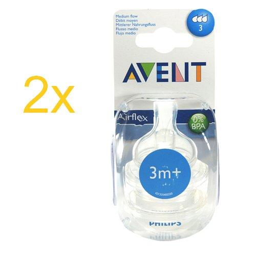 Philips Avent Airflex Sauger 0% BPA 3m+ mittlerer Nahrungsfluss 4 Stück weicher Silikonsauger