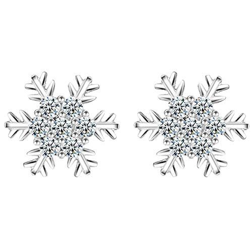 Ditz - Pendientes para mujer de plata 925, diseño de copo de nieve, con circonitas brillantes