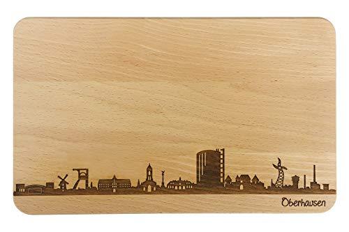 Brotzeitbrett Oberhausen Skyline   Frühstücksbrettchen aus Buche   Holz Schneidbrett   Geschenk mit Gravur   Frühstücksbrett   Nordrhein-Westfalen (Standard (22x14x1cm), 1. ohne persönlicher Gravur)