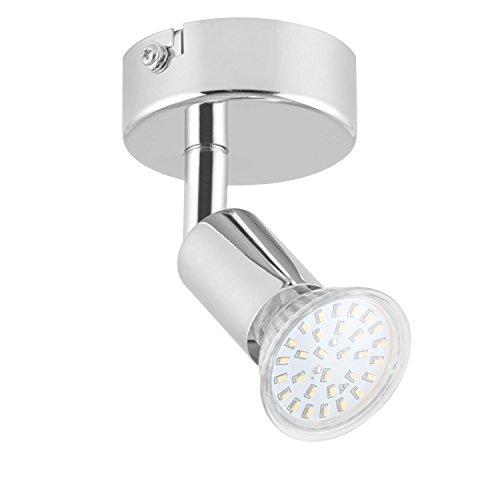 Lightcraft Kvalfoss 1 - Wandstrahler, Deckenleuchte, Spotlampe, LED-Spot, 3 Watt Verbrauch, 250 Lumen, 20000 h Lebensdauer, verchromter Edelstahl, Wand- und Deckenmontage, silber,