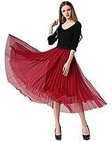 Afibi Women Retro Vintage Prom Formal Skirts Pleated Skirts Tutu Tulle Skirt (Small, Red)