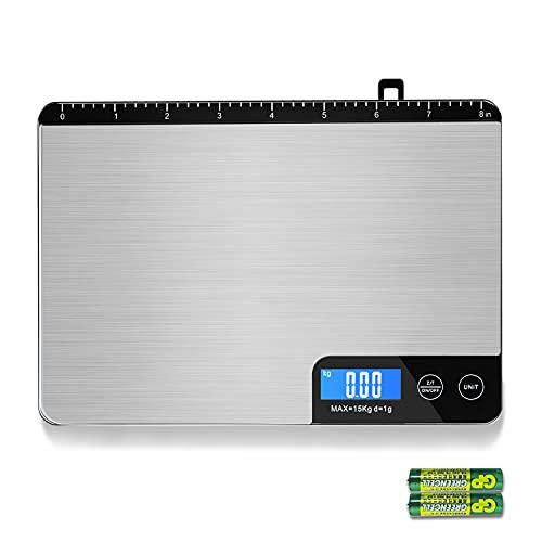 MOMMED Balance Cuisine, Balance de Cuisine Electronique (précision 1g/15kg capacité), Balance Alimentaire avec bouton tactile, règle intégrée et crochet caché, 2 piles AAA incluses