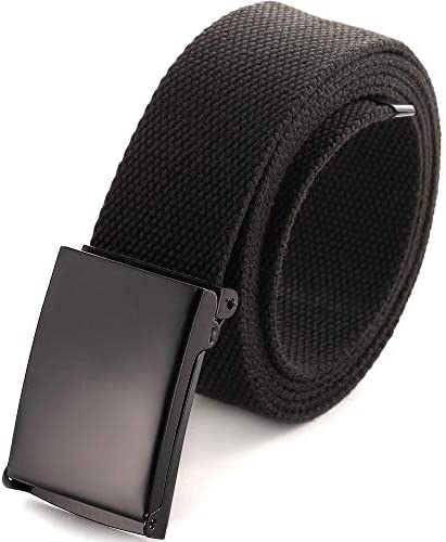 Cut To Fit Canvas Web Belt Size Up to 52 with Flip Top Solid Black Military Buckle Black product image
