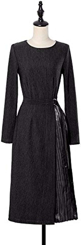 XIURONG Long Sleeved Knit Dress Dress Skirt Pleated Skirt Waist Strap in