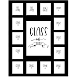 Rustic Red Door Co. School Years Picture Mat with 15 Openings – 11x14 School Days Photo Collage – No Frame - 2 Pre-School & Kindergarten to 12th Grade High School Graduation (Class of 2033, Black)