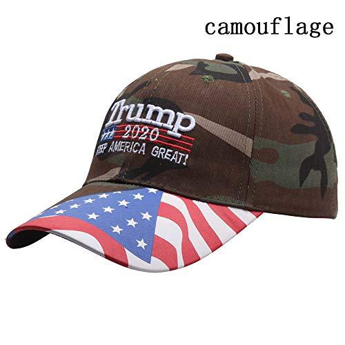 Turbobm Gorras de béisbol, Trump 2020 Keep America Great Bordado Bordado Camuflaje Gorra de béisbol Deporte al Aire Libre Snapback Sombreros