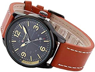 Curren Casual Man Watches With Leather Strap And Black Color Case Black Color Dial Curren-8215