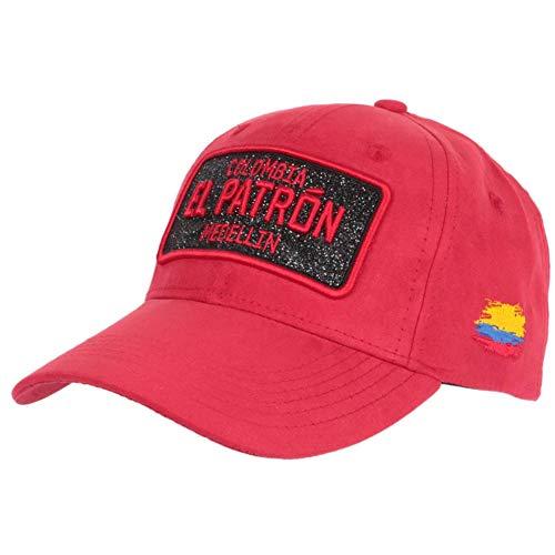 Gorra El Patrón rojo y negro con brillantes de imitación de ante Colombia Medellin Baseball – Unisex rojo Talla única