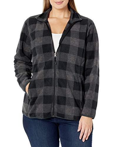 Amazon Essentials Women's Plus Size Full-Zip Polar Fleece Jacket, Charcoal Buffalo Plaid, 2X