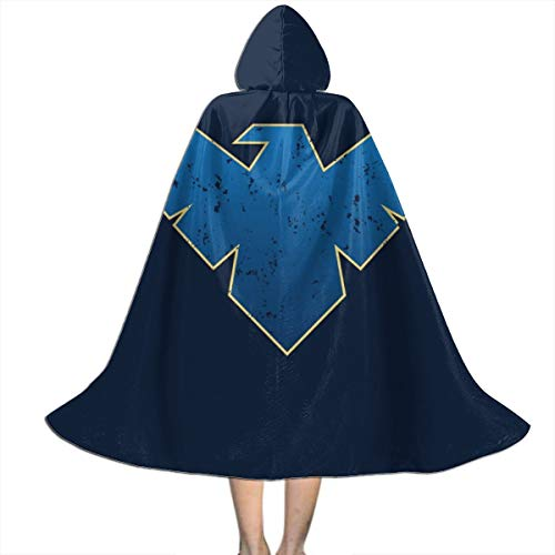 SEDSWQ Nightwing Logo Distressed Unisex Kids Hooded Cloak Cape Halloween Xmas Party Decoration Role Cosplay Costumes Black