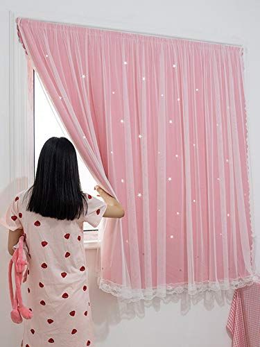 FCSFSF Cortina de Velcro, Cortinas Opacas con Aislamiento térmico sólido para habitación de niñas con Estampado de Estrella Plateada -a 130x150cm (51x59 Pulgadas)
