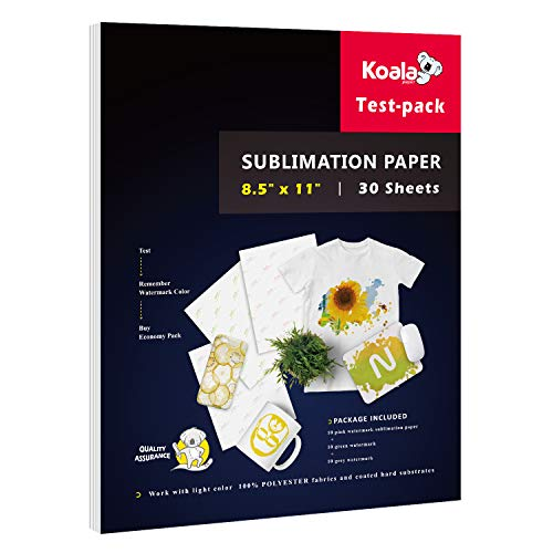 Koala Sublimation Paper 8.5x11 for Heat Transfer DIY gift compatible with Inkjet Printer with Sublimation Ink 30 Sheets