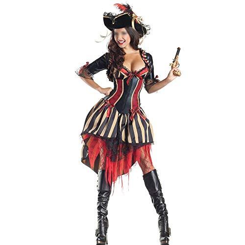 Modische Halloween-Kostüme, Herrlich und Festliche Halloween-Kostüme Mode gestreiften Low-Cut-Kleid weibliche Piraten Fluch der Karibik Halloween Cosplay Kleidung Komfortabel, voller Charme Halloween-