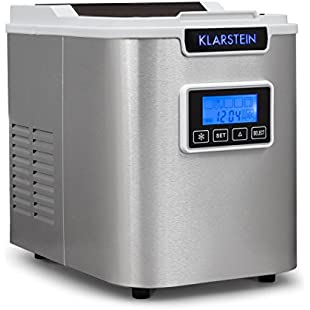 Klarstein Icemeister Ice Maker • Ice Machine • 12 kg / 24 h • Ice Cubes in 15 minutes • 3 selectable Cube Sizes • 1.1 litre Water Tank • Self-Cleaning Program • Easy Operation via LCD Display • Elegant Brushed Stainless Steel Case • Timer • White