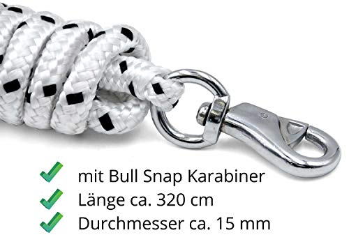 Bodenarbeitsseil 3,2 m| Bodenleine | Führseil mit Bull Snap | Pferdeausbildungsstrick | Western Rope für Horsemanship und Bodenarbeit weiß/schwarz - 3
