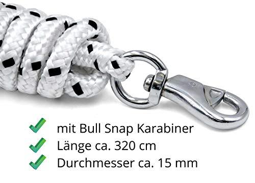 Bodenarbeitsseil 3,2 m| Bodenleine | Führseil mit Bull Snap | Pferdeausbildungsstrick | Western Rope für Horsemanship und Bodenarbeit weiß/schwarz - 4