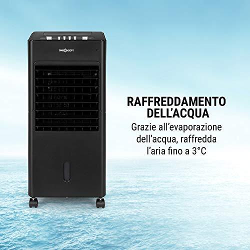 oneConcept Freshboxx - Raffrescatore Evaporativo, Ventilatore, Umidificatore 3in1, 65 W, Flusso: 360 m³/h, 3 velocità, Serbatoio: 6 L, 2 Siberini, Oscillazione Orizzontale, Nero