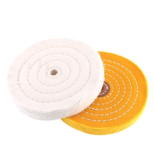 Hilitchi 2 Pcs 6 Inch Extra Thick Buffing Polishing Wheels for Bench Grinder, White (60 Ply) and Yellow (42 Ply) with 1/2