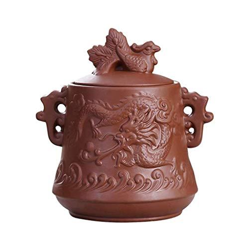 GXC theedozen, theedoos dozen, tafeldecoraties Chinese lila klei keramiek urnen pet as meorial begrafening, draak en Phönix-patroon B
