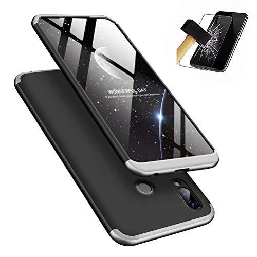 MISSDU kompatibel mit Premium Hart PC 360 Grad Hülle Huawei Honor Play Hülle + Panzerglas,3 in1 Handytasche Handyhülle Schutzhülle Cover - Silber schwarz