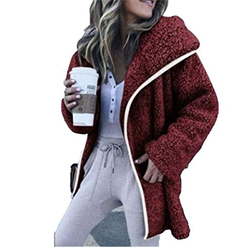 JIER Damen Langarm Plüsch Kapuzenjacke Winter Jacke Warm Winterjacke Outwear Cardigan Fleecejacken Parka Trench Coat Sweatjacke Sweat Hoodie (Weinrot,Large)
