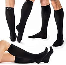 3 Pack Bundle Compression Socks for Men & Women, Comfortable Knee High Compression Stockings, Socks for Nurses and Runners, Relief from Shin Splints and Edema Swelling, Maternity Compression Sockings