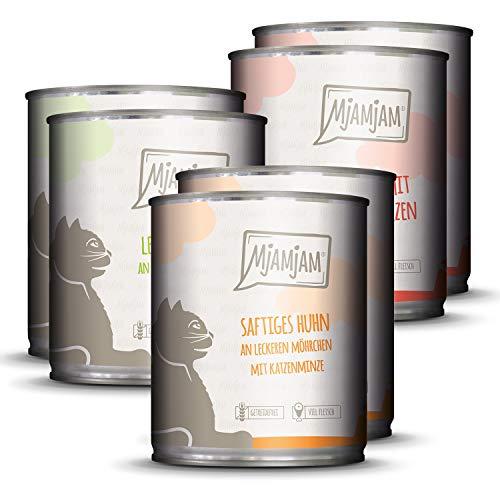 MjAMjAM - Premium Nassfutter für Katzen - Mixpaket 1 - Huhn, Rind, Herzen, 6er Pack (6 x 800g), getreidefrei mit extra viel Fleisch