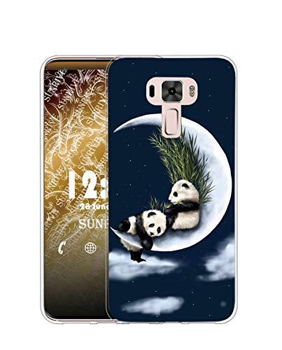 Sunrive Kompatibel mit Asus Zenfone 3 ZE520KL Hülle Silikon, Transparent Handyhülle Schutzhülle Etui Hülle (TPU Mondpanda)+Gratis Universal Eingabestift MEHRWEG