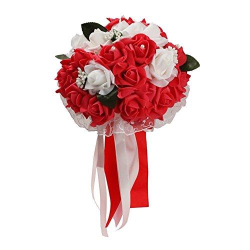 pu ran Bouquet de Roses artificielles en polyuréthane pour Mariage, décoration de fête