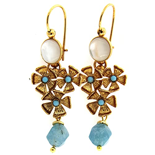 Pendientes Colgantes Clasicos - Latón con Oro de 24 Quilates- Hechos a mano en Toscana, Made in Italy -Tema floral con Nácar y jade azul Colgante
